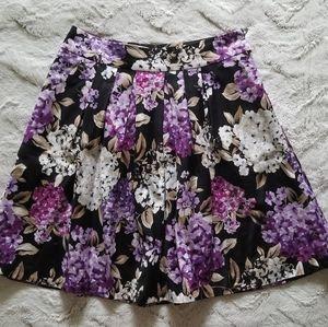 WHBM Black Purple Floral Cotton Skirt Size 6
